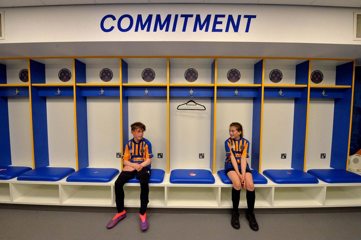 Year 7 pupils Charlotte Johnson and William Vnoucek in the players' changing rooms