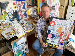 Les Jones, an artist and designer from Woore, with the collages he made from newspapers