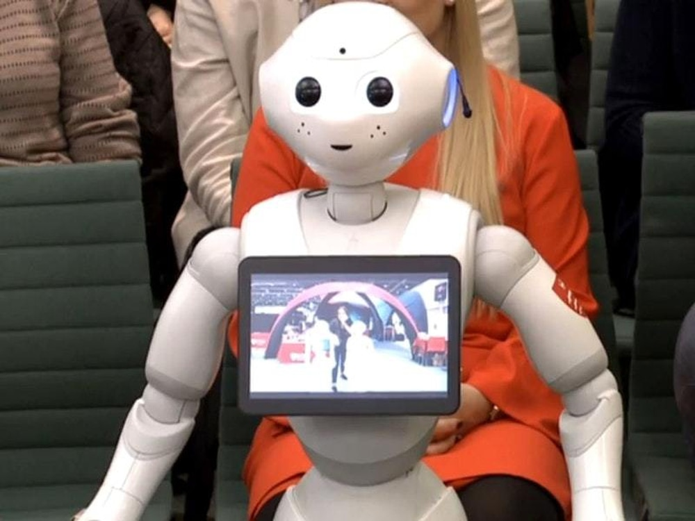 Robot answers questions from MPs at Education Select Committee