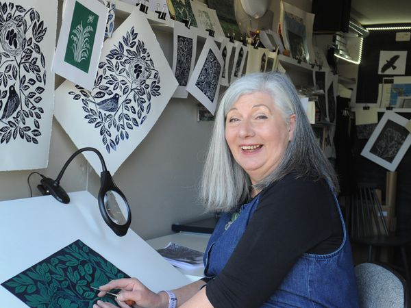 Print artist Shelley Wingrove set up her studio, in Homer, Much Wenlock, during lockdown