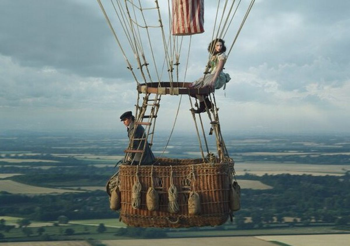 Scene from The Aeronauts with Eddie Redmayne and Felicity Jones, on general release from November 8