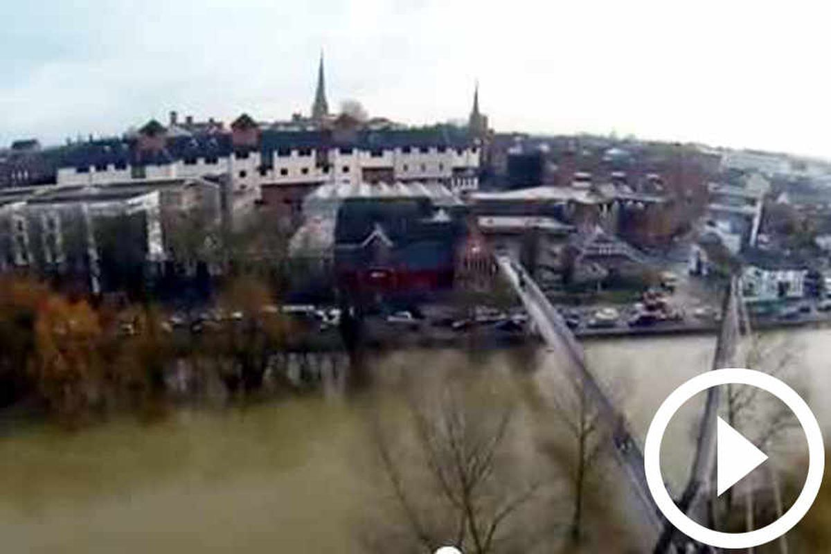 Video: Amazing aerial view of flooding in Frankwell, Shrewsbury