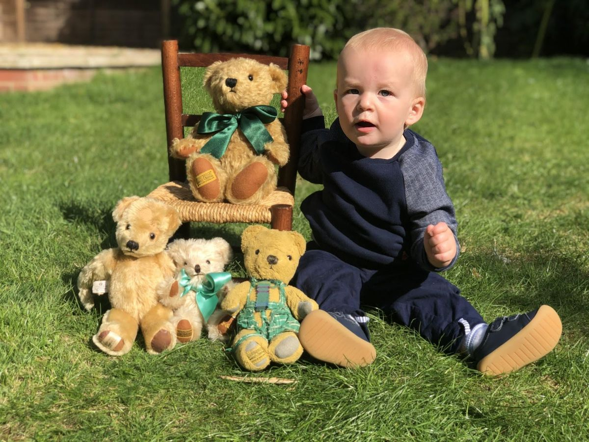 George and his family with some of their Merrythought bears