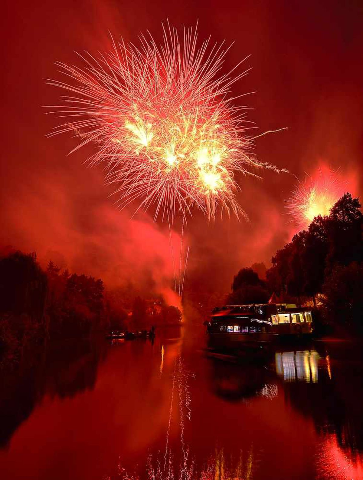 Fireworks seen from Pengwern Boathouse