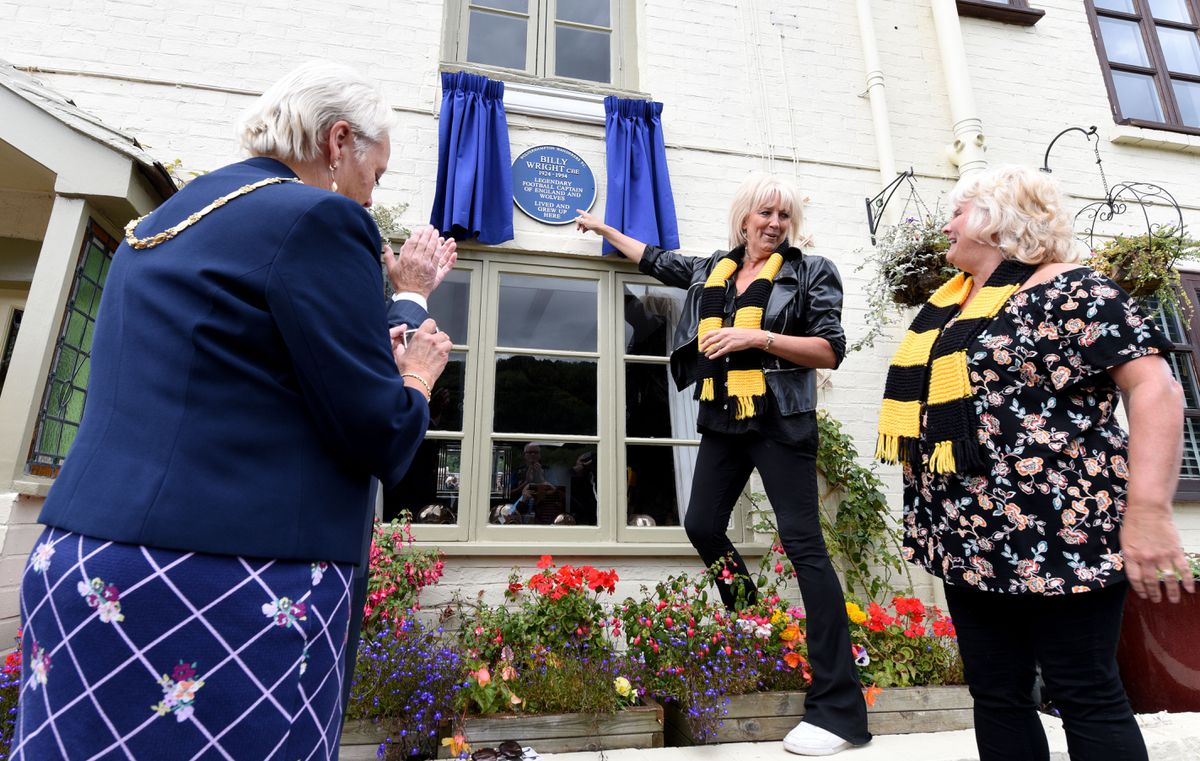 The unveiling of the plaque with Billy Wright's daughters Vicky and Babette