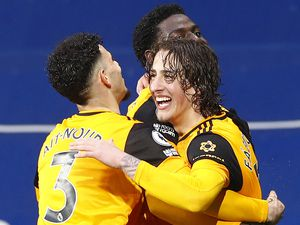 """Wolverhampton Wanderers' Fabio Silva (right) celebrates scoring their side's first goal of the game during the Premier League match at The Hawthorns, West Bromwich. Issue date: Monday May 3, 2021. PA Photo. See PA story SOCCER West Brom. Photo credit should read: Jason Cairnduff/PA Wire. ..RESTRICTIONS: EDITORIAL USE ONLY No use with unauthorised audio, video, data, fixture lists, club/league logos or """"live"""" services. Online in-match use limited to 120 images, no video emulation. No use in betting, games or single club/league/player publications.."""