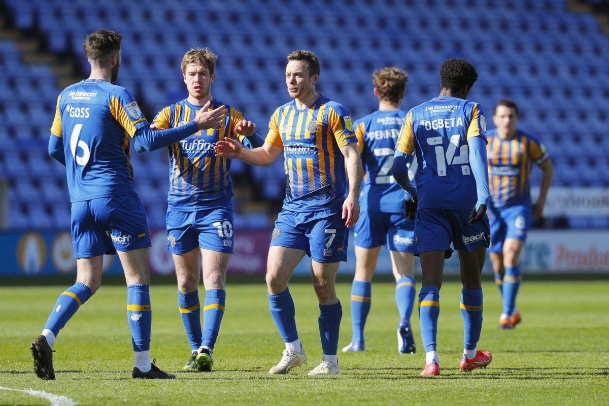 Shaun Whalley of Shrewsbury Town celebrates after scoring a goal to make it 1-0 (AMA)