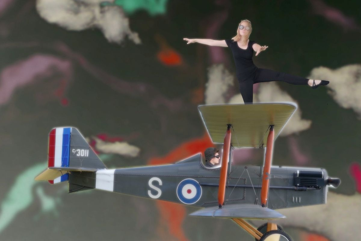 Jazmine Broom, 17, acts as the wing walker