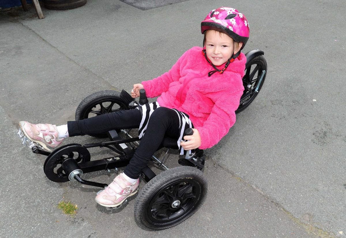 Bethan Evans when she was six at the start of a fundraiser, Bethan's Bike Ride.