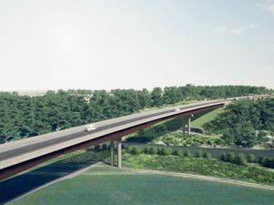 An artist's impression of how the North West Relief Road's viaduct would look