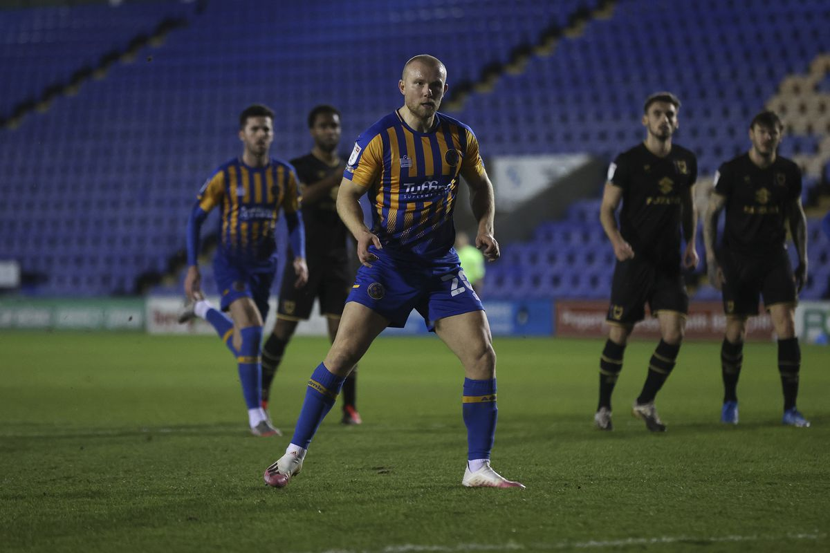 Curtis Main of Shrewsbury Town scores a goal to make it 3-0 from the penalty spot (AMA)