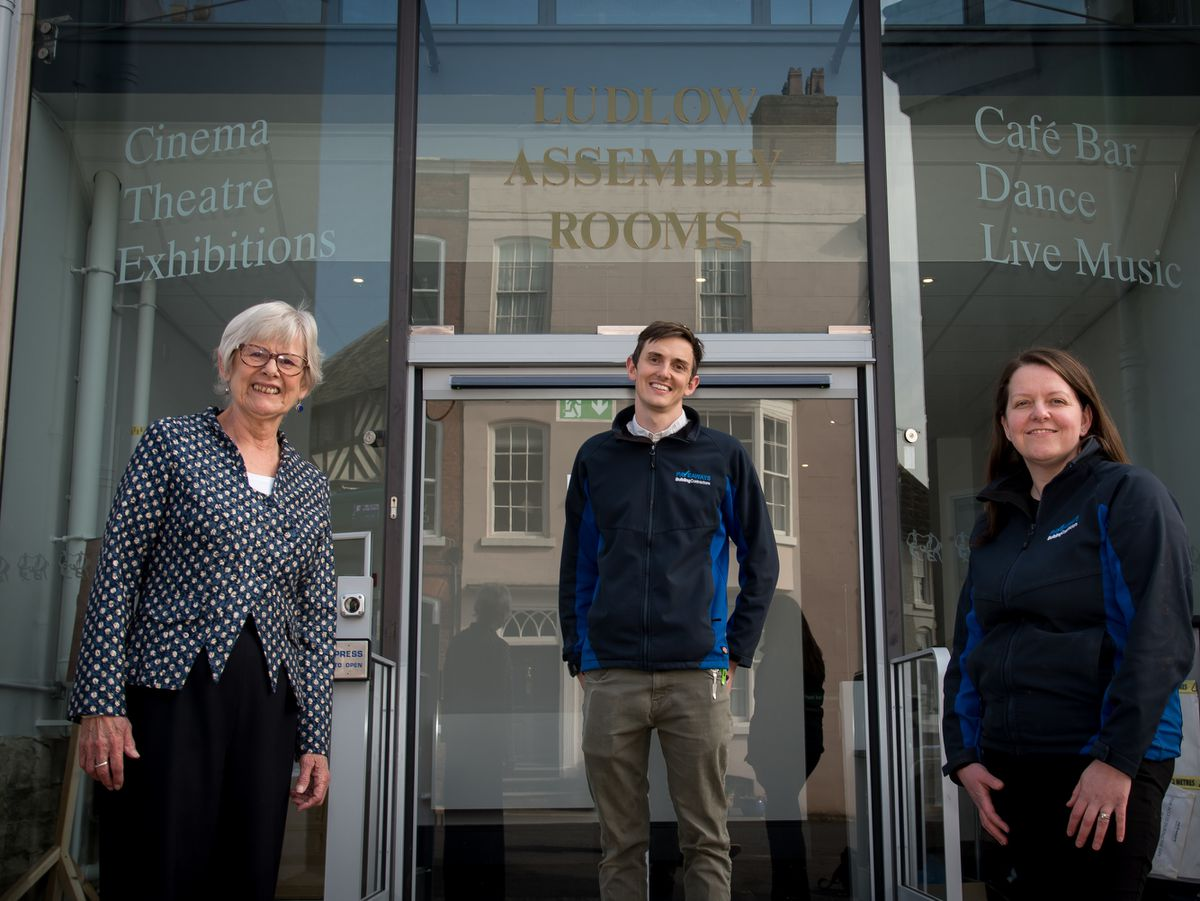 Ludlow Assembly Rooms CEO Helen Hughes, site manager Joe Price and Pave Aways' Commercial Director Victoria Lawson at the new look Assembly Rooms