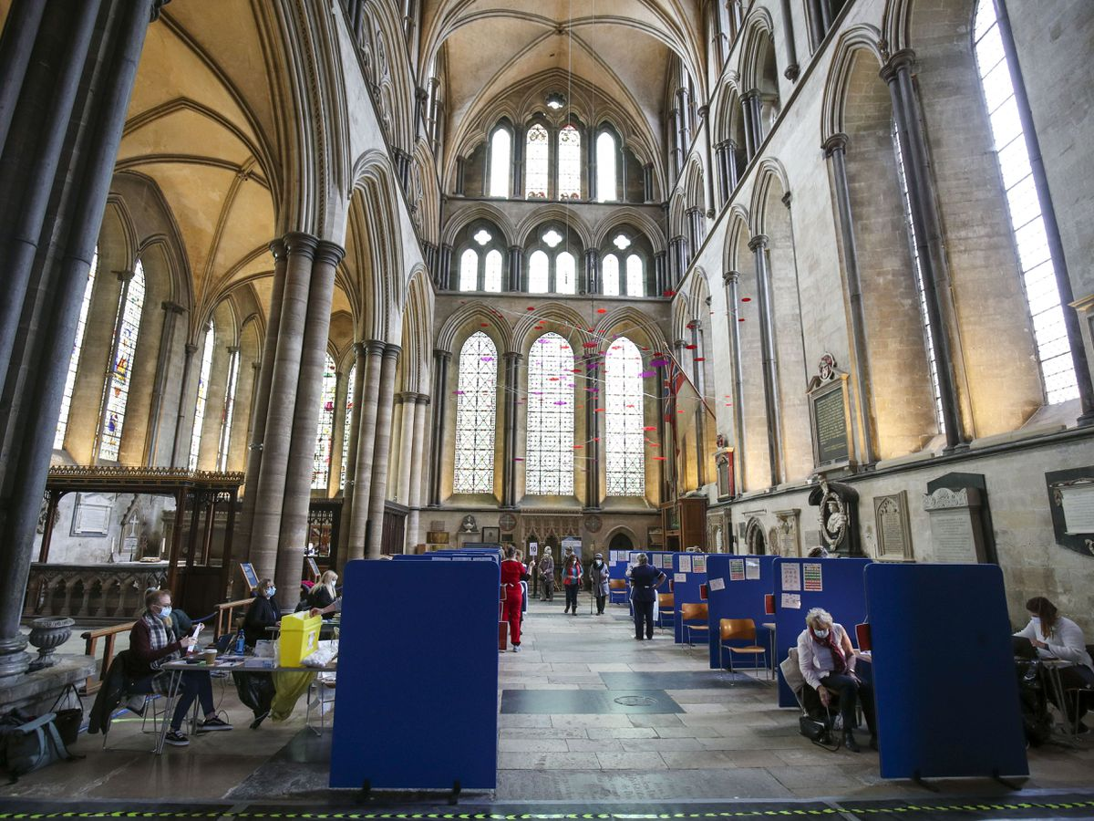 Cubicles inside Salisbury Cathedral, Wiltshire, for people to receive a coronavirus vaccination