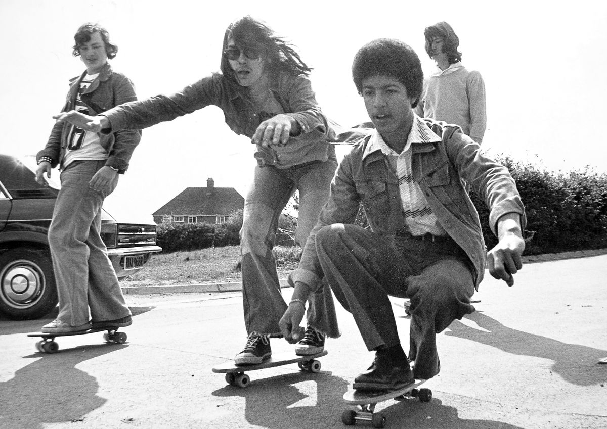 "Ooo-er, it's all a question of balance. It's May 17, 1977, and the skateboarding craze which had swept America had arrived at Madeley Court School in Telford. The story accompanying this picture described it as ""a type of surfing on wheels up to 70mph"" and said these lads were acknowledged as four of the school's best skateboarders. They are, from left, Stephen Clarkson, 16, of Sandcroft, Sutton Hill; Ade Blount, 17, of Blakemore, Brookside; Clive Newman, 16, of Warrensway, Woodside; and 17-year-old Russel Turner, of Park Street, Wellington."