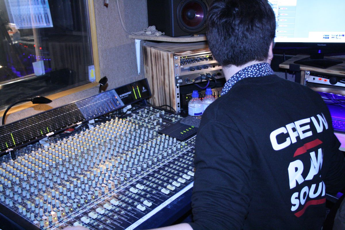 James Connolly at the studio's mixing desk