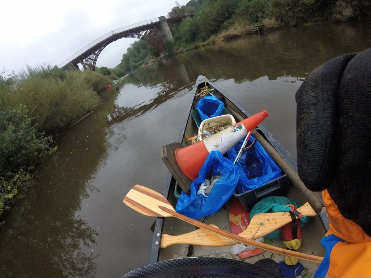 The club filled three open canoes full of rubbish