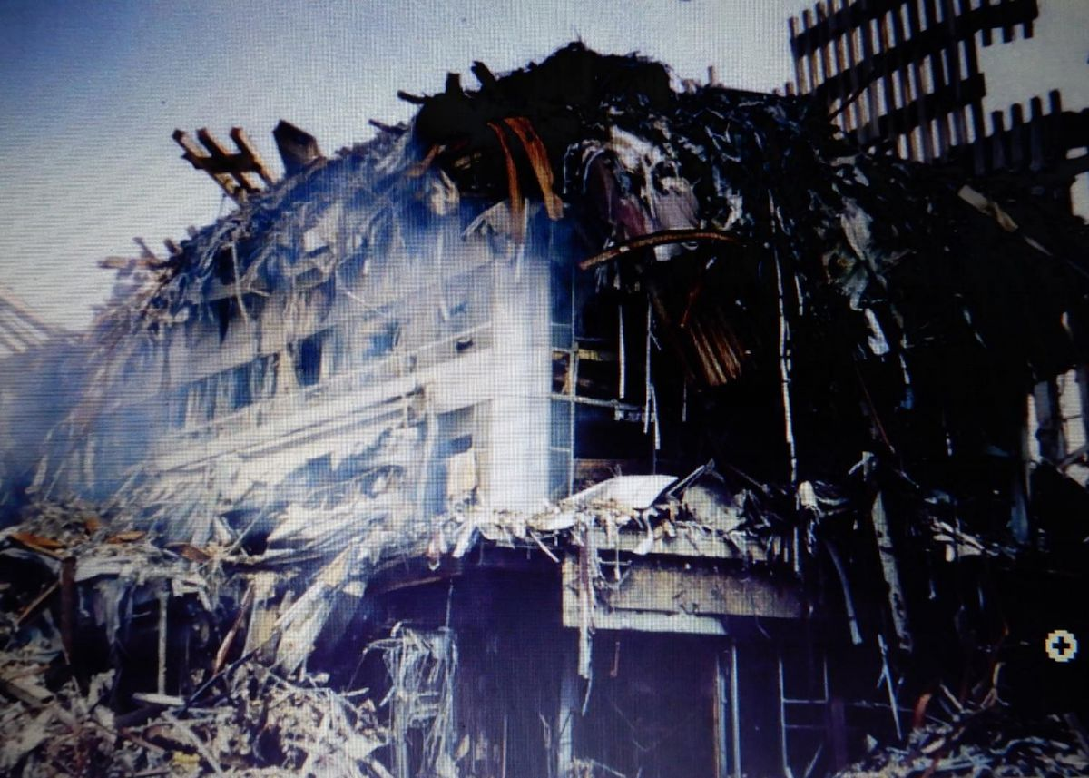 The crushed remains of the Marriott Hotel in New York.