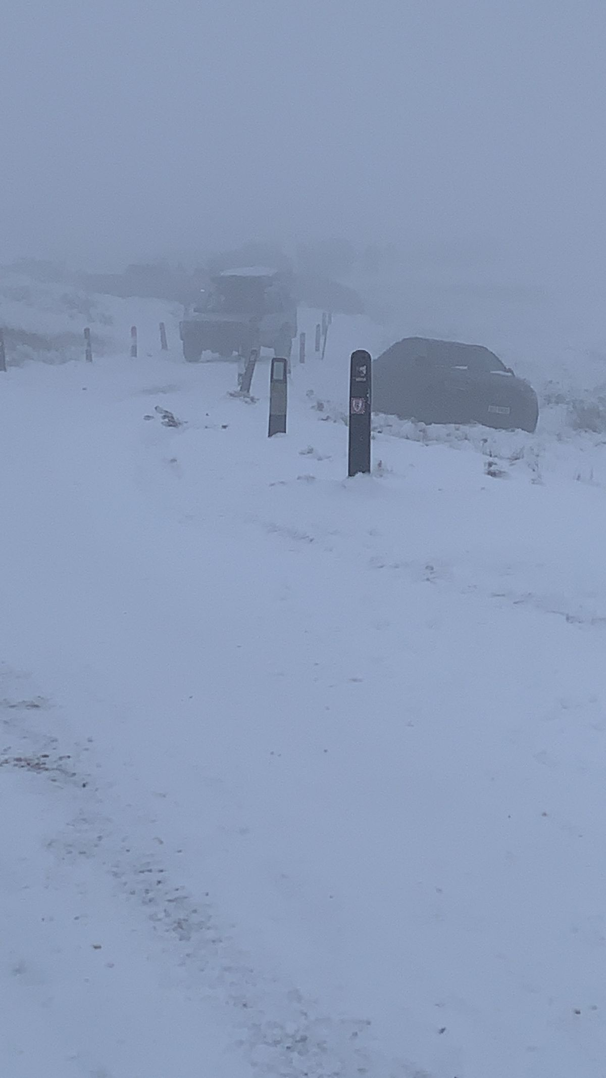 Cars were stranded in the snow at Clee Hill
