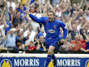 Shrewsbury Town v Farnborough Town 23.8.03 Steve Jagielka celebrates his goal, Shrewsbury's second in the 3-0 win at Gay Meadow. Pic Malcolm Couzens West Midlands Soccer 01952 605015