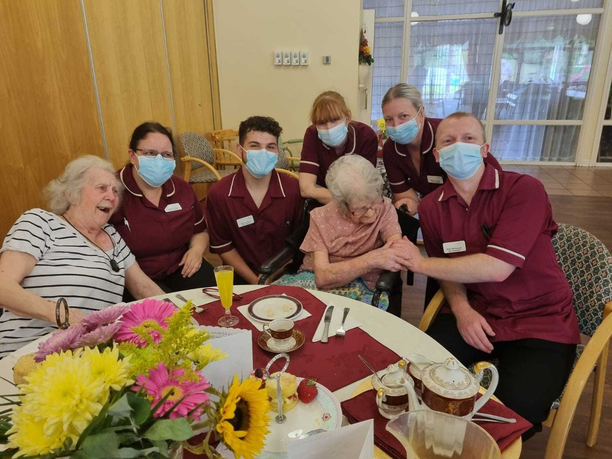 Coverage Care Services staff treat Gladys Cloke to a traditional tea party to celebrate her 110th birthday