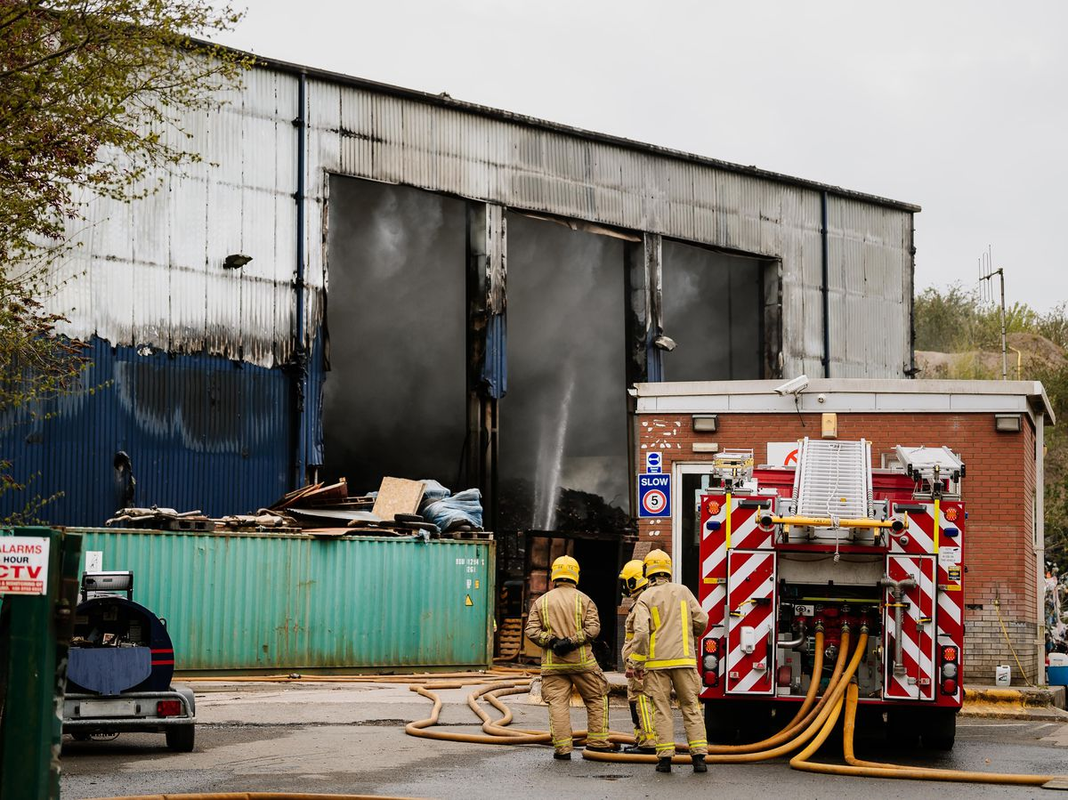 LAST COPYRIGHT SHROPSHIRE STAR JAMIE RICKETTS 27/04/2021 - The morning after the fire at former Pink Skips Depot in Ketley, Telford - Greenway Waste Recycling site..