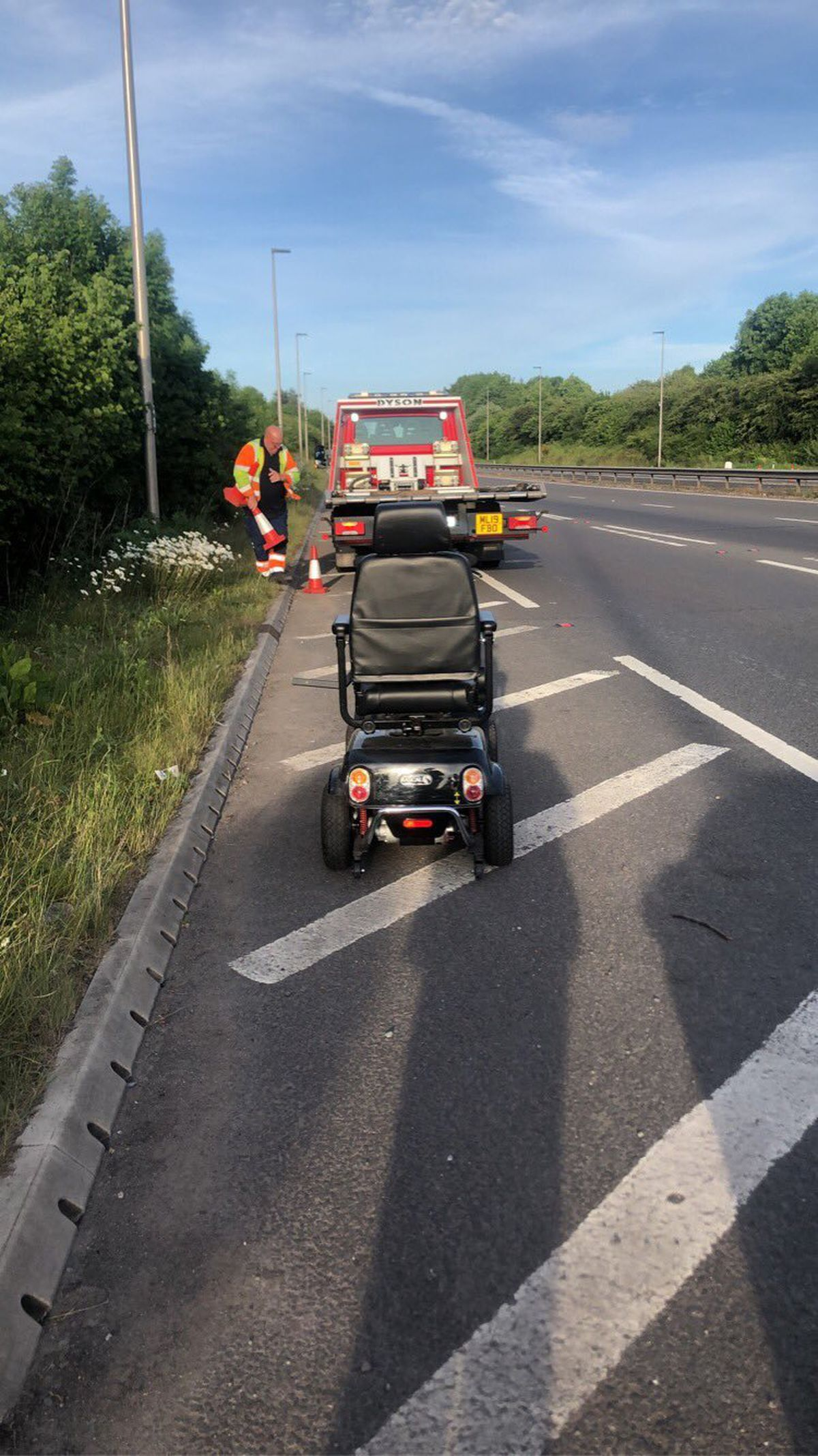 The mobility scooter was spotted on the A5. Photo: @ShrewsburyCops