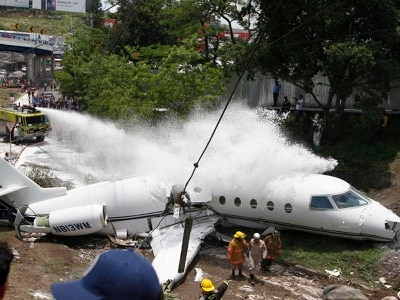 Crew and passengers rescued after private jet crashes at Honduras airport