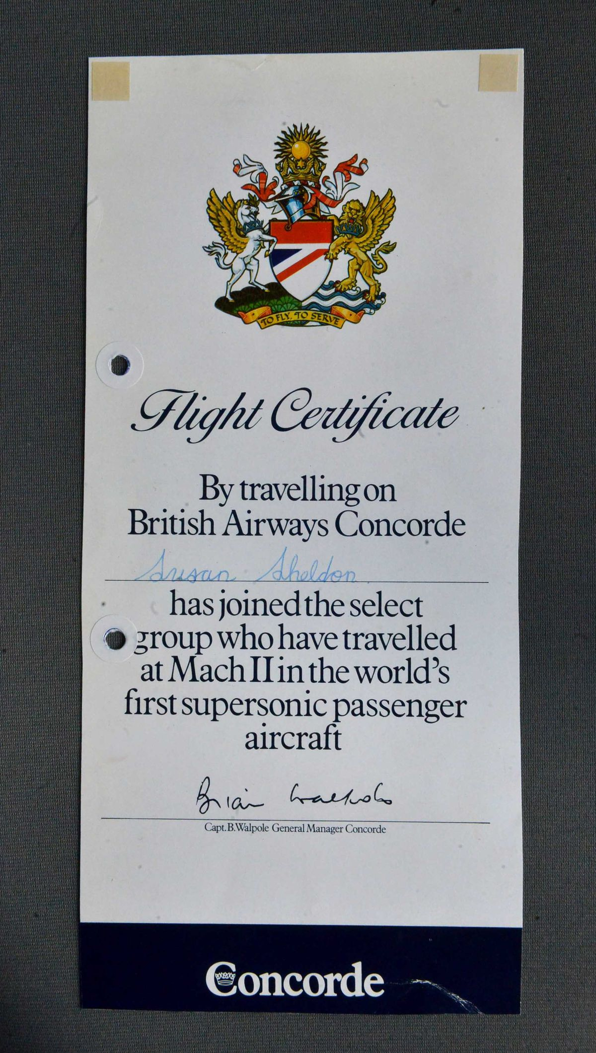 Susan Adams, then Sheldon, received a certificate for flying on Concorde in 1983