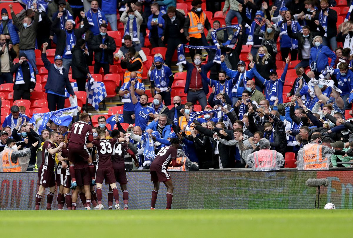 Leicester City's Youri Tielemans celebrates with his team-mates in front of the fans
