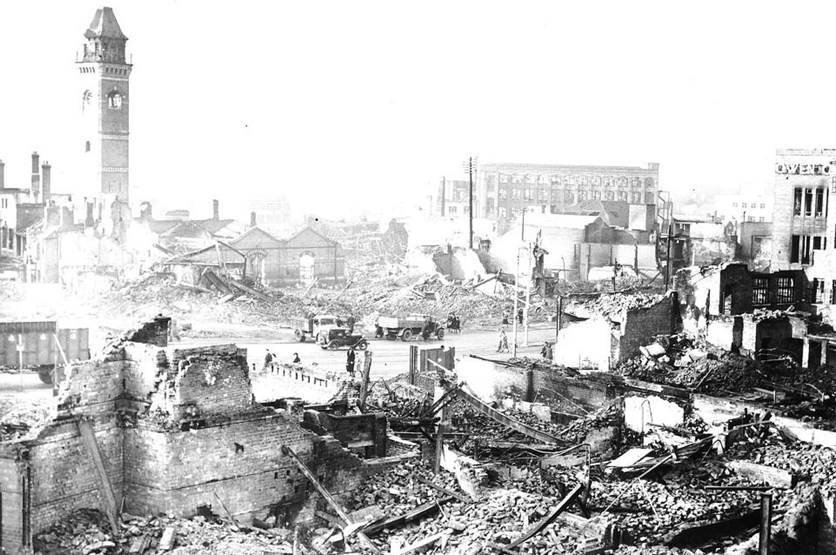 Aftermath of the Blitz on Coventry 80 years ago today, which killed 568