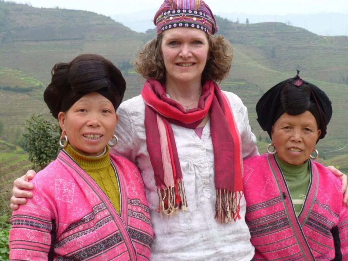 Daughter Mary in China, where she retraced the route of his epic wartime escape