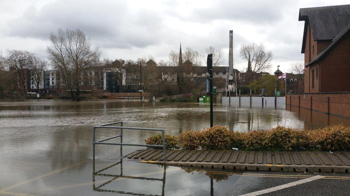 Flooding in Frankwell Car Park on Monday. Photo: Tim Vasby-Burnie