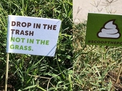 Police officers plant flags in dog poo to get residents to clean up after pets