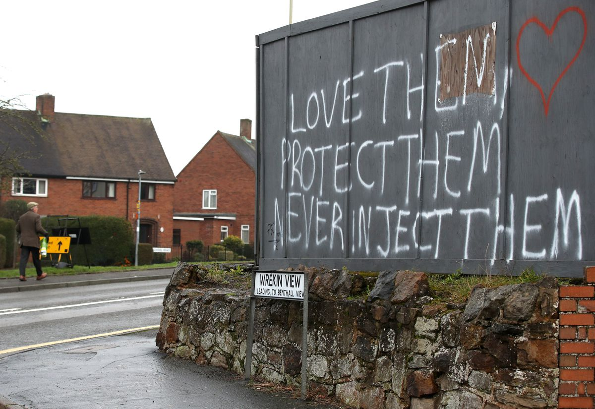 Anti-vaccination graffiti sprayed on a wall in Madeley