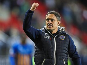 Paul Hurst, Manager / Head Coach of Shrewsbury Town celebrates