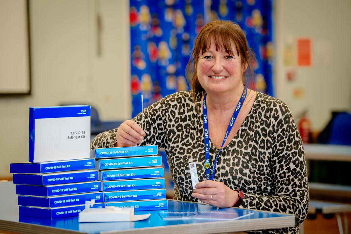 Shelagh Enticknap at Much Wenlock Primary School with the NHS Test and Trace kits for staff to test themselves for coronavirus