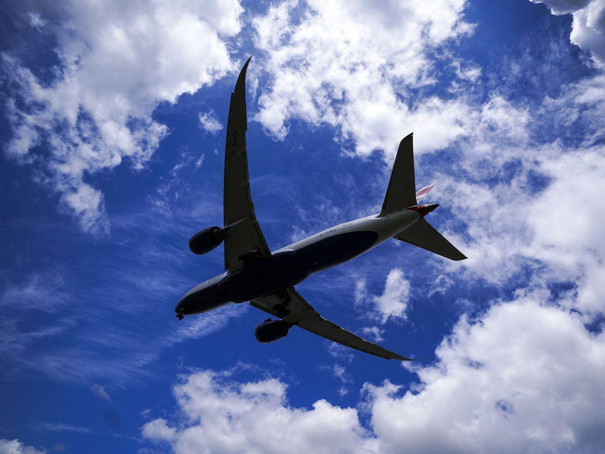 A plane prepares to land