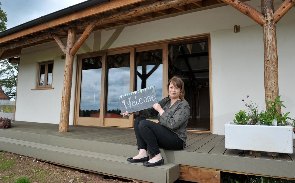 Marie Gibson from Fordhall Organic Farm, ready to welcome visitors to the bunkhouse