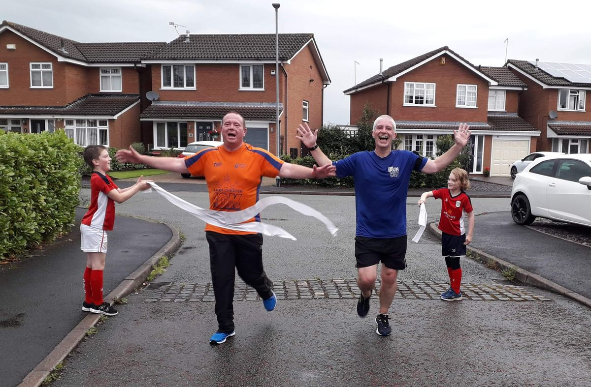From left, Matt Jones and Matt Price completing their 10K challenge