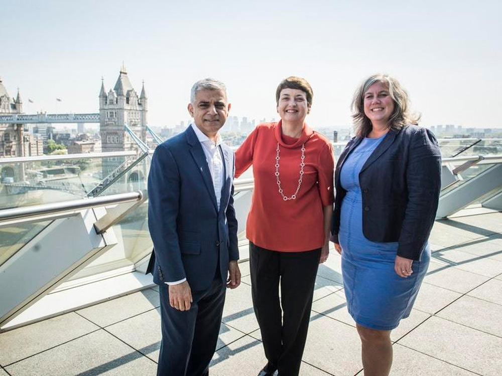 Heidi Alexander with London Mayor Sadiq Khan and outgoing deputy mayor for transport Val Shawcross
