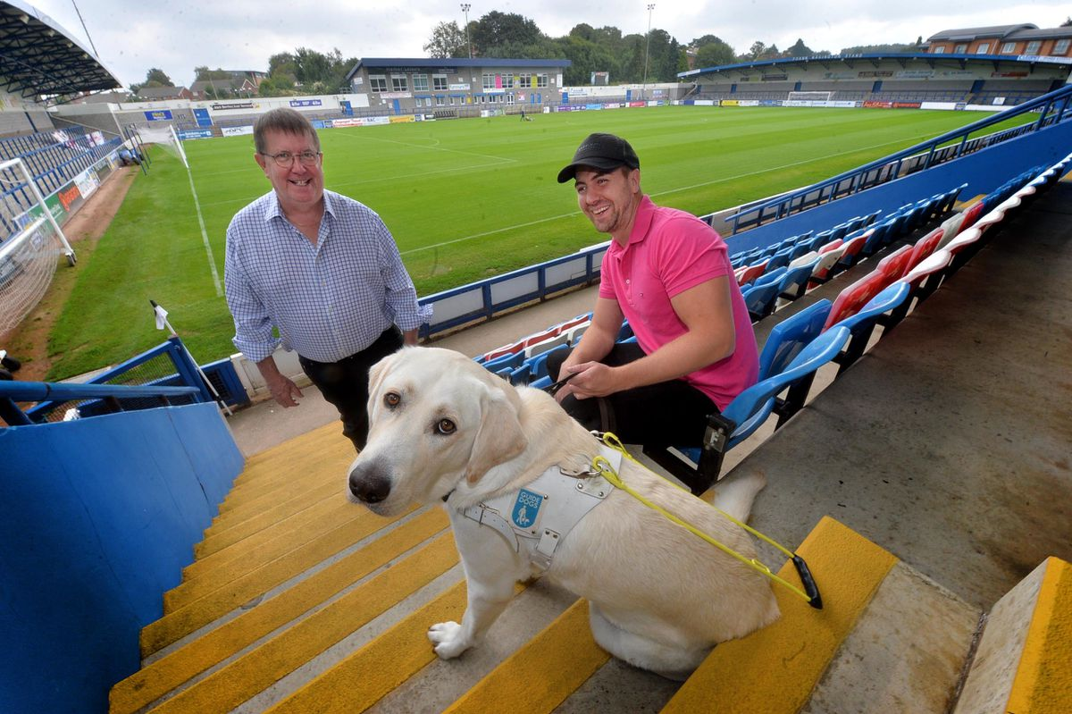 Josh Feehan, who will be running with his guide dog Ringo, pictured with Lee's uncle Ian Tyrer at the New Bucks Head