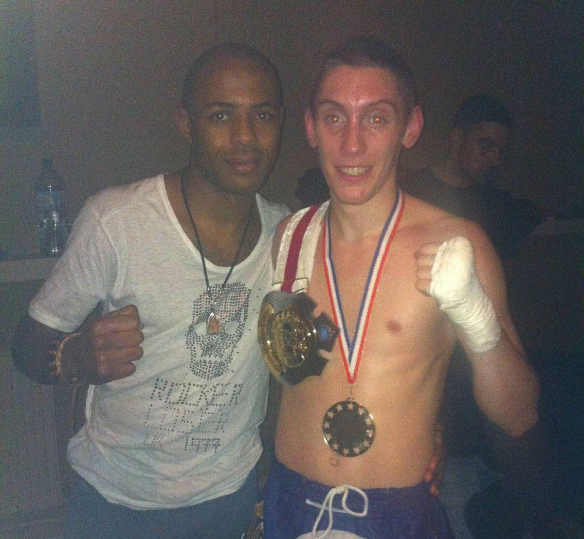 Luke with Muay Thai coach Dean James