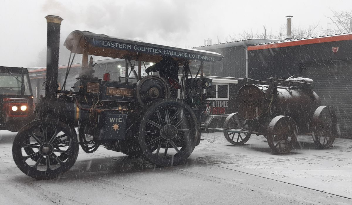 A Marshall steam tractor towing a Ruston portable from Priorslee to Blists Hill in the snow. Pic: Fiona Barraclough.