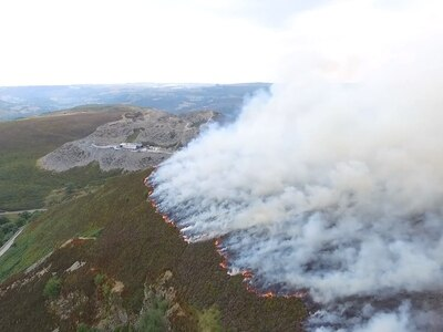 WATCH: Drone footage reveals scale of huge Horseshoe Pass fire