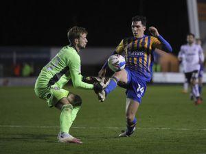 Toby Savin of Accrington Stanley and Matthew Millar of Shrewsbury Town. (AMA)