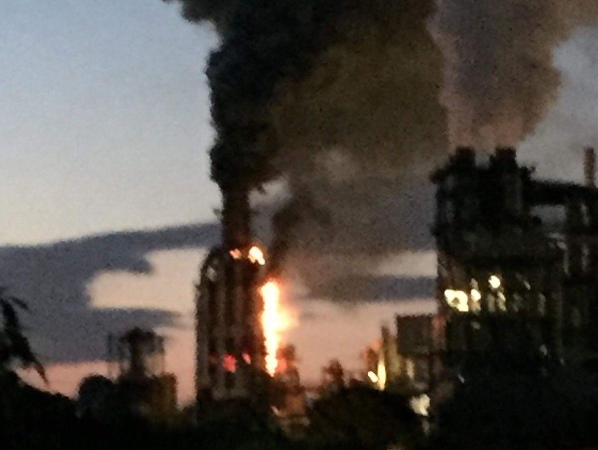 The blaze at Kronospan. Photo: Councillor Terry Evans.