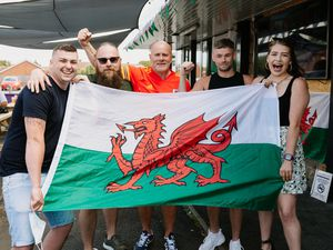 Welsh fans kicking off their Euro Championships at The Tavern in Chirk