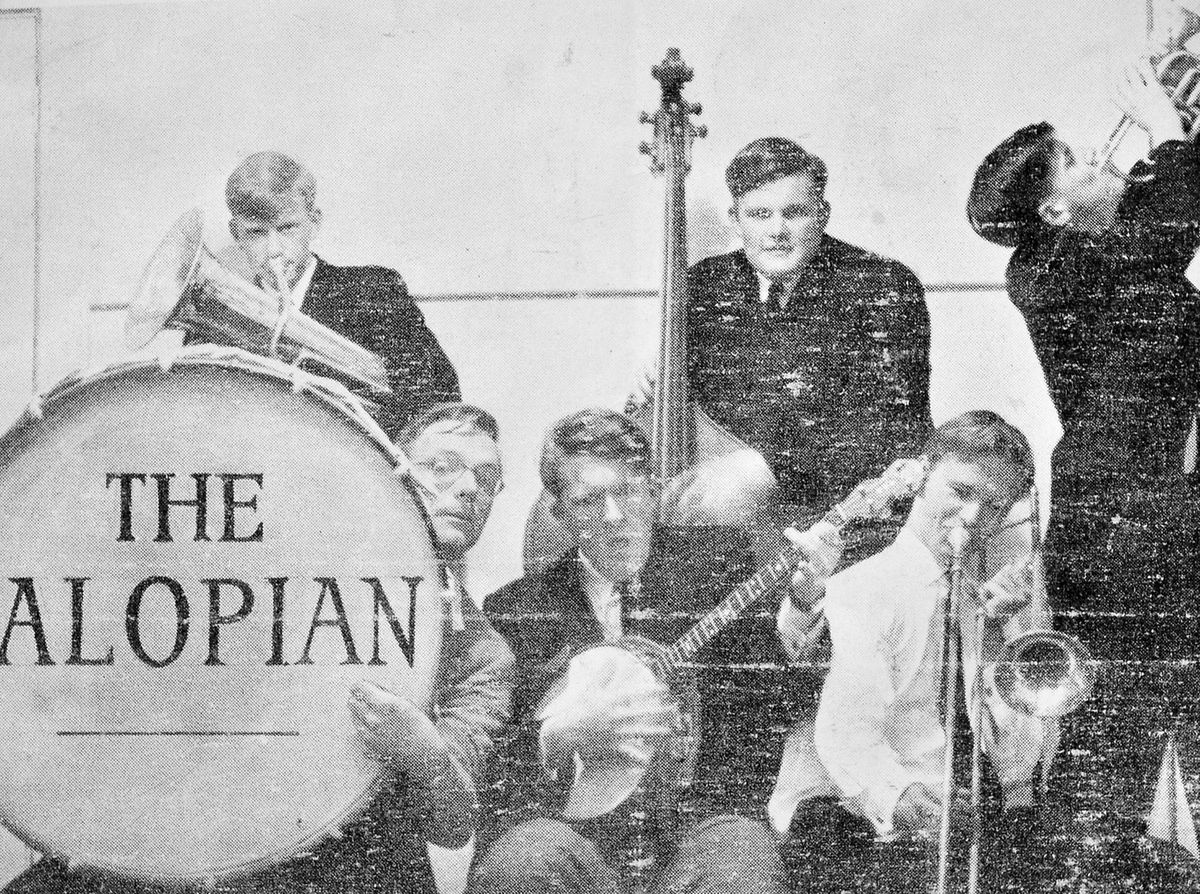 Christopher Booker playing the trombone with The Salopian band at Shrewsbury School. Picture courtesy of Laurence Le Quesne.