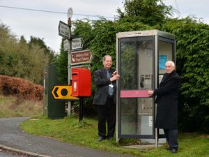 Councillor David Evans, left, and Councillor David Hedgley object to rural phone boxes being removed