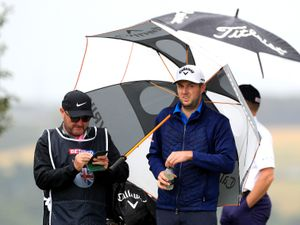 England's Ashley Chesters (centre) during day two of the Betfred British Masters at Close House Golf Club, Newcastle. PA Photo. Picture date: Thursday July 23, 2020. See PA story GOLF British. Photo credit should read: Mike Egerton/PA Wire. RESTRICTIONS: Editorial use only, No commercial use.